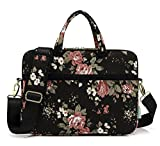 (US) kayond Black chinese Rose Canvas Laptop Shoulder Messenger Bag Case Sleeve for 15-15.6Inch Laptop and Macbook Pro 15.4 (15-15.6 Inch, Black C Rose)