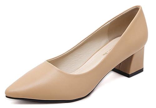 ebd0f3f817da5 Aisun Femme Simple Chaussures de Bureau Pointue Soulager La Douleur AU Pied  Escarpins Abricot 33