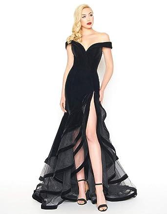 5e2d50d4a5f0 Mac Duggal - 66586R Velvet Off-Shoulder Layered Trumpet Dress at Amazon  Women's Clothing store: