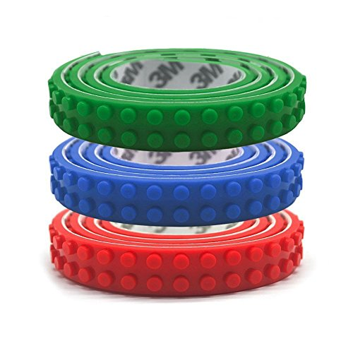 Lego Block Tape, Legos Compatible, Reusable, Silicone, Self Adhesive 1m (3ft each) Tape for Children - Blue, Green, Red, Non Toxic and Cuttable, Perfect for Kids of All Ages
