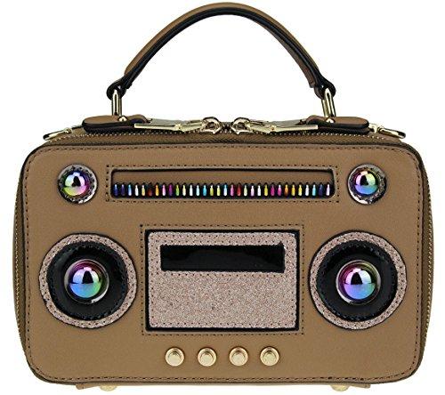 B BRENTANO Vegan Medium Radio Crossbody Top Handle Purse with Metallic Trim (Brown)