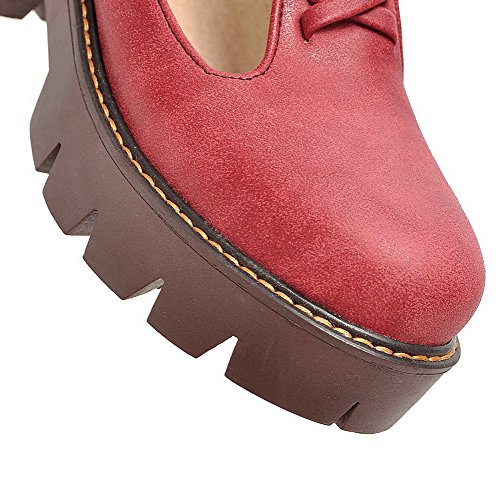 Toe Shoes Red AllhqFashion Round Pumps Womens Kitten Solid Buckle PU Heels xXSvzwXq