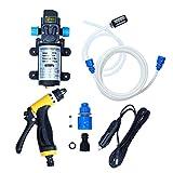 theBlueStone 80W 12V Car Washer Kit High Pressure Water Pump Wash Set Sprayer Gun Electric Self-priming for Auto,Moto,Marine,Pet,Window,Travel,Gardening,Camping Washing(131PSI)