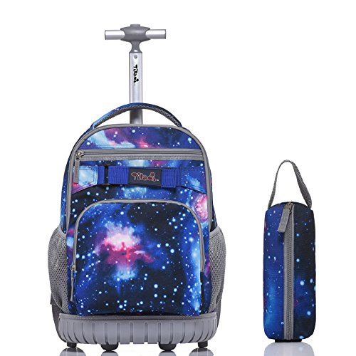 - Tilami Rolling Backpack 18 Inch for School Travel with Pencil Case,Blue Galaxy