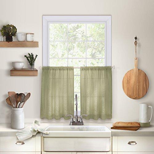 "Elrene Home Fashions 26865775341 Solid Hemstitched Rod Pocket Café/Kitchen Tier Window Curtain, Set of 2, 30"" x 24"", Sage, 30"" W x 24"" L"