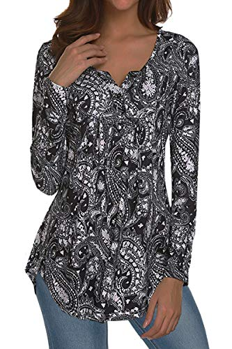 Women's Printed Long Sleeve V Neck Pleated Casual Henley Blouse Shirt Tops (Black2, XXL) from TOP HERE