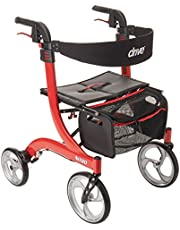 """Drive Medical Nitro Aluminum Rollator, Red, 10"""" Casters, 1 Each 1 count"""