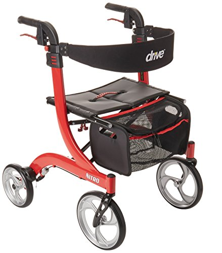 Drive Medical Nitro Euro Style Red Rollator Walker, Red ()