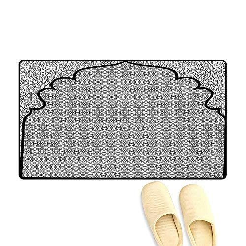 Bath Mat,Arabian Art Background with a Group of Traditional Turkish Ottoman Forms Patterns,Customize Door Mats for Home Mat,Black -