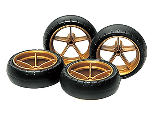 Large Dia Narrow Lightweight Wheels (w/Arched Tires) Mini 4WD Grade Up Parts Series by (4wd Tires Wheels)