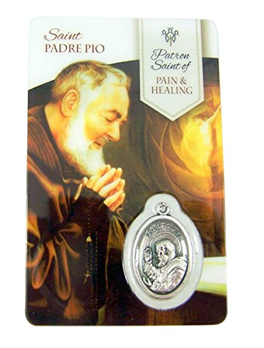 Silver Toned Saint Padre Pio Patron of Pain and Healing Medal with Holy Card, 1 (Padre Pio Patron Saint)