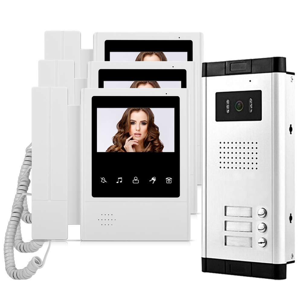 3 Monitores Visi/ón Nocturna HFeng 4.3  Video Intercom System 3 Apartamentos con 700TVL Timbre de Puerta de c/ámara
