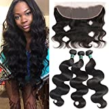 HUA Hair Peruvian Body Wave 3 Bundles with Frontal 8A Peruvian Virgin Hair with Lace Frontal Closure (13×4) Unprocessed Human Hair Weave with Frontal Ear to Ear Natural Color (12 14 16+10) For Sale