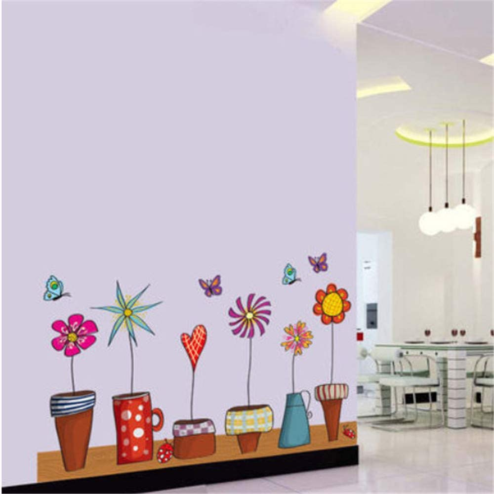 Pot Plant Flower Butterfly Nature Lovely Window Wall Sticker Decoration DIY Home