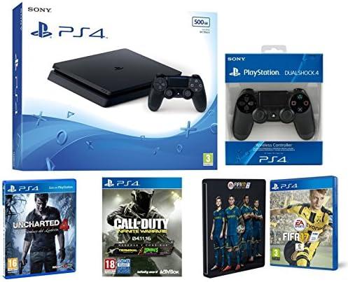 PlayStation 4 Slim (PS4) 500 GB - Consola + Call Of Duty: Infinite Warfare + Uncharted 4 + FIFA 17 + Steelbook (Exclusivo en Amazon) + Mando Dualshock 4 adicional: Amazon.es: Videojuegos