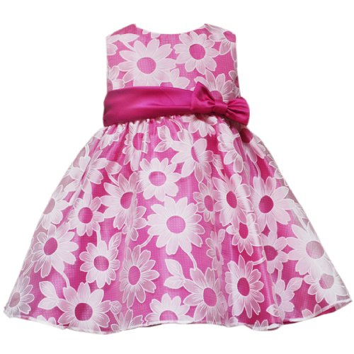 Rare Editions NEWBORN/INFANT 3M-24M 2-Piece FUCHSIA-PINK WHITE DAISY ORGANZA OVERLAY Special Occasion Flower Girl Easter Party Dress