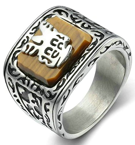 Gnzoe Jewelry, Mens Stainless Steel Wedding Rings Retro Pattern Size 11, Gold