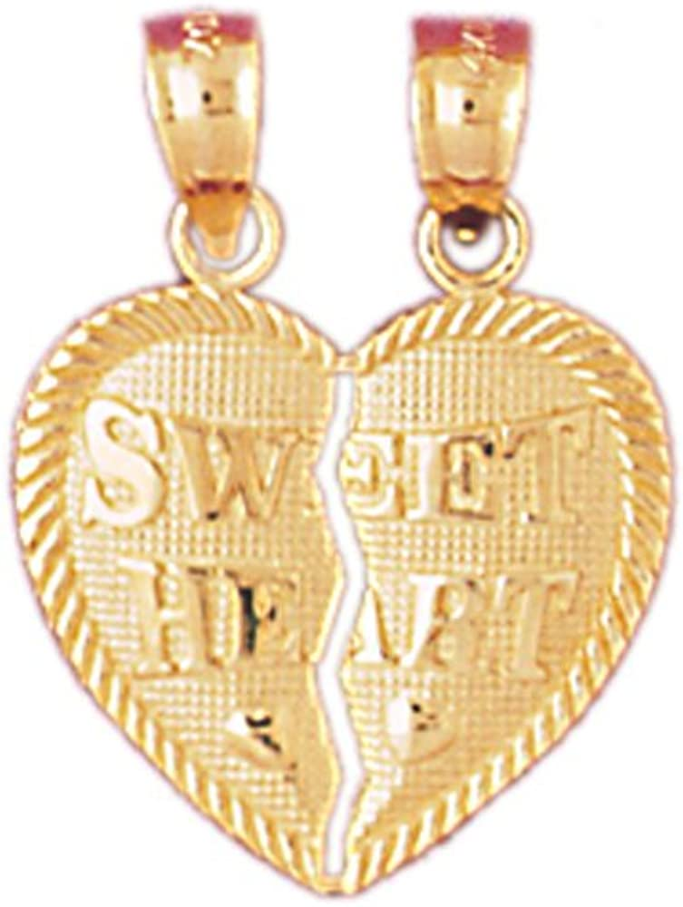 14K Yellow Gold Sweet Heart Breakable Heart Pendant on an Adjustable Chain Necklace
