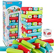 wonuu Tumbling Timbers Block Wooden Stacking Game Colored Cartoon Plastic Building Blocks Board Educational To