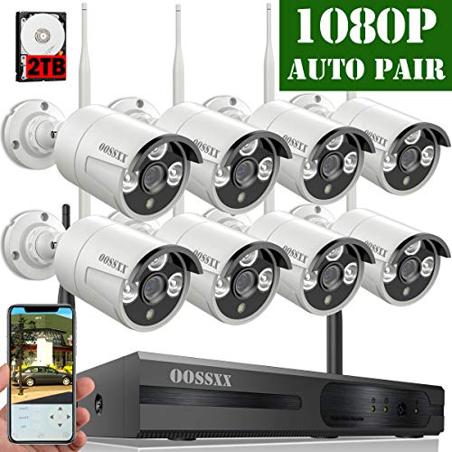 【2018 Update】OOSSXX 8-Channel HD 1080P Wireless System/IP Security Camera System 8Pcs 1080P 2.0 Megapixel Wireless Indoor/Outdoor IR Bullet IP Cameras,P2P,App, HDMI Cord & 2TB HDD (Video Camera Set)