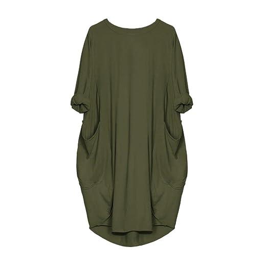 VEMOW Damenmode Tasche Lose Kleid Damen Rundhalsausschnitt beiläufige Tägliche Lange Tops Kleid Plus Größe