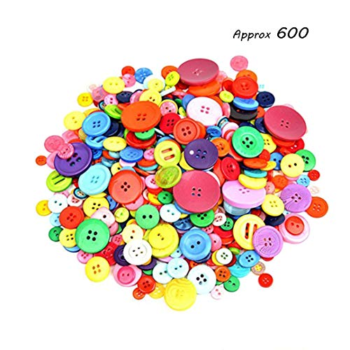 Dshengoo 600-700 Pieces Resin Buttons Assorted Colors and Shapes Buttons for DIY Crafts Sewing Decorations, 2 Holes and 4 Holes