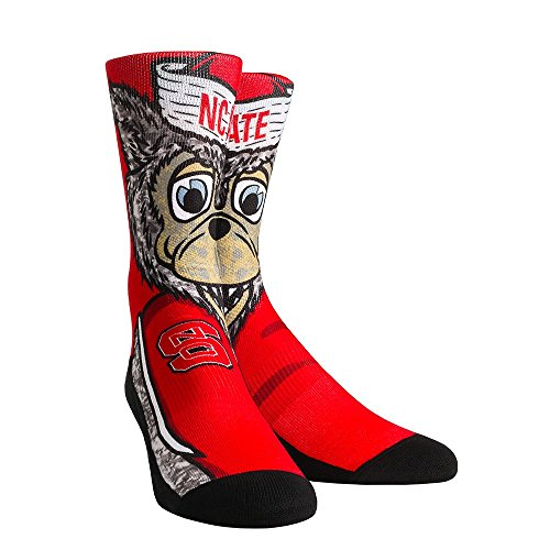 NCAA North Carolina State Wolfpack Custom Athletic Crew Socks, Large/X-Large, Mr. Wuf - Cotton Custom Socks