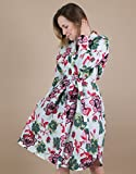 Women's Long Sleeve Belted Floral Cotton Shirt Dress