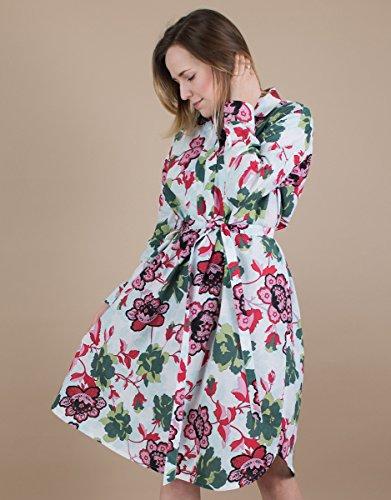 Women's Long Sleeve Belted Floral Cotton Shirt Dress by BAUH designs