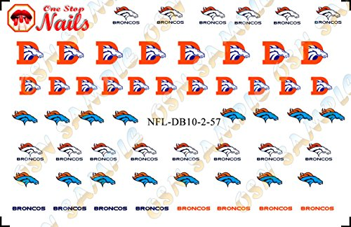 Denver Broncos Waterslide Nail Decals (Tattoos) V2 (Set of 57)