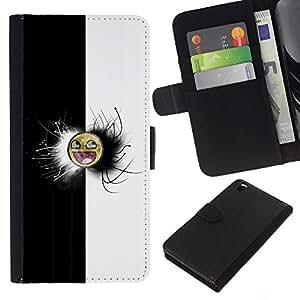 LECELL--Cuero de la tarjeta la carpeta del tirón Smartphone Slots Protección Holder For HTC DESIRE 816 -- Negro y blanco impresionante Meme Cara --