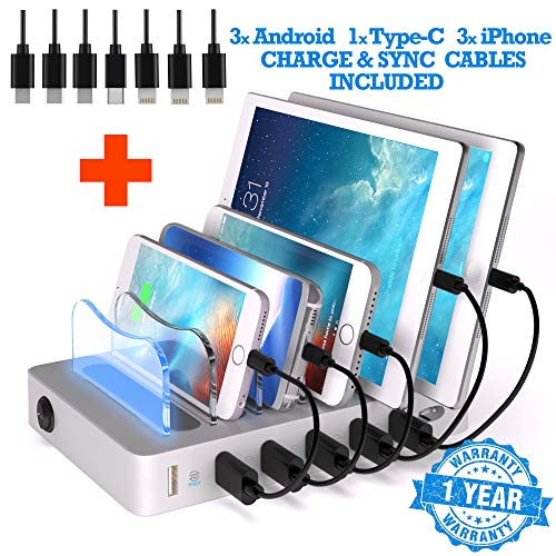 6 USB Charging Station For Multiple Devices - FAST Multiple Usb Charger Multi Port Hub - NO BUZZ Nightstand Charging Station Organizer Dock - Smart Cell Phone Docking Station LED iPhone Charger Stand from TIMSTOOL