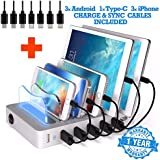 6 USB Charging Station For Multiple Devices - FAST Multiple Usb Charger Multi Port Hub - NO BUZZ Nightstand Charging Station Organizer Dock - Smart Cell Phone Docking Station LED iPhone Charger Stand