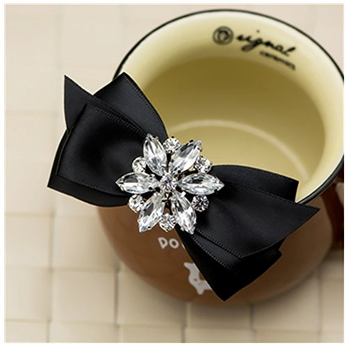 Shaped Shoe Clips - Douqu Rhinestone Crystal Wedding Bridal Shoe Bow Boots Clips detachable shoes buckle Shoe Decoration Charms Pair Jewelry (Black)