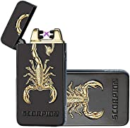 USB Electric Dual Arc Flameless Torch Rechargeable Windproof Plasma Lighter Epex 3D Scorpion