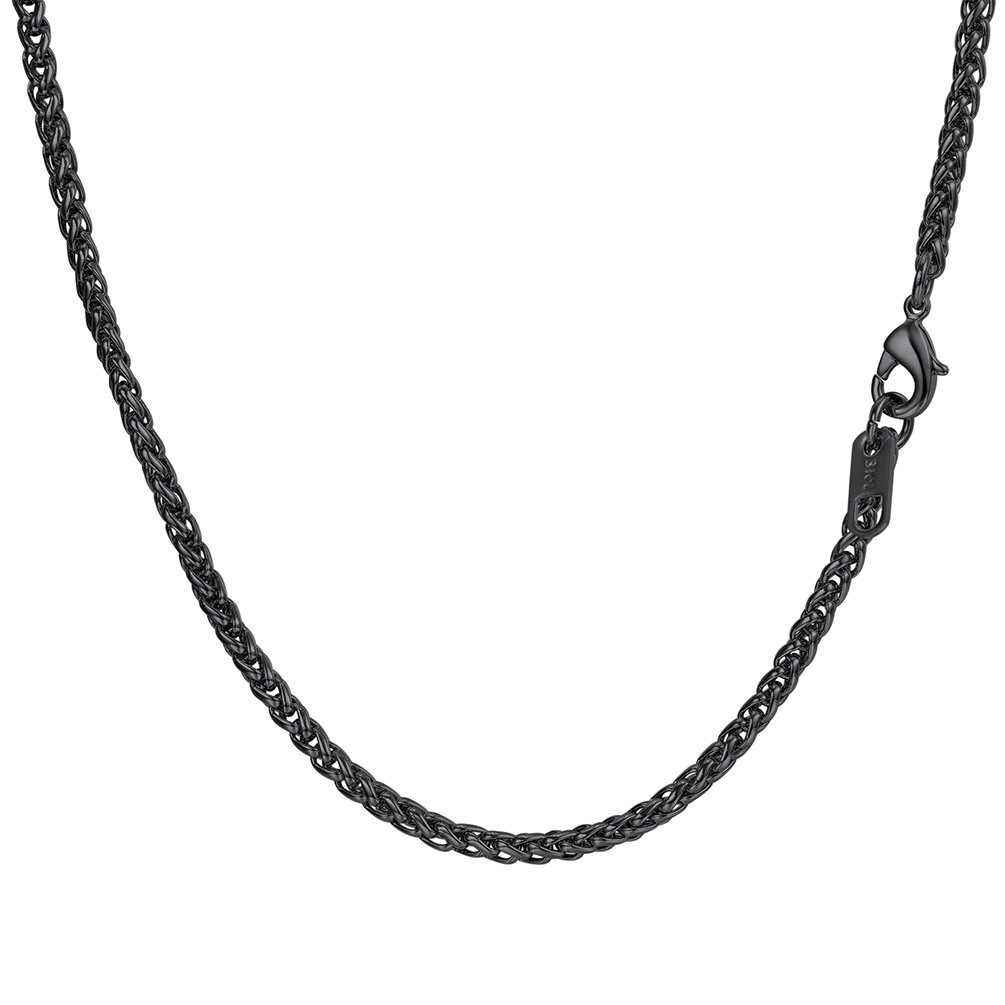 Wheat Chain Clasp 3MM Wide Necklace Men 316L Stainless Steel Links Chains Women Jewelry 18K Gold/Black Gun Plated Necklaces PSN3543 PROSTEEL Jewelry PSN3543H-18-NA