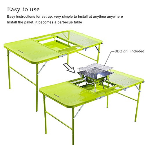 SKYROKU Height Adjustable Aluminum C&ing Folding Table and 4 Folding Stools with A BBQ Grill - HomeGoodsReview  sc 1 st  HomeGoodsReview & SKYROKU Height Adjustable Aluminum Camping Folding Table and 4 ...