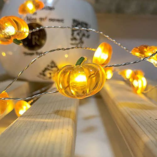Jack-O-Lantern Orange Pumpkin String Lights - 10ft 40LEDs Long Battery Operated Copper Wire With the Remote & Timer for Indoor/Covered Outdoor/Autumn Parties & Home/Dorm Room Decorations by MIYA LIFE (Image #2)