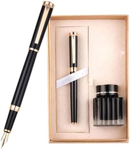 KYBHD - Bolígrafo de tinta para hombre, caja de regalo, con clip de oro creativo, 0,5 mm, funda de tinta dorada, 14,5 x 1,3 cm, bolígrafo de caligrafía, bolígrafo utilitario, color negro:
