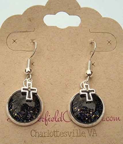 silver-tone-black-glitter-glass-open-cross-charm-dangle-earrings