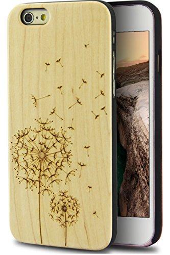 iPhone 6 Plus Wood Case, Wood Cover Case Real Nature Wood Unique Pattern Design Bumper Protective Wooden Hard Back Cover Case with iPhone 6 Plus (Dandelion) - Iphone 6 Wood Case Dandelion