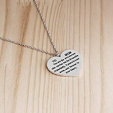 Gifts for Mom Women Love You Mom Heart Pendant Necklace Mom Gifts Charm Fashion Chain Necklace Gifts for Mom from Son Daugter Mothers Day Gifts