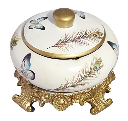 Home Decor Royal Oriental Style Ceramic Round Shaped Table Ashtray/ Keepsake Trinkets Storage Box Organizer - Butterfly and Peacock Feather Print Design with Lid and Stand