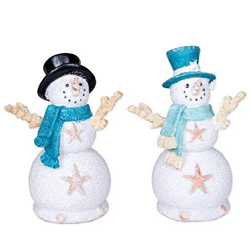 Coastal Snowman Starfish Seashell 6.5 Inch Resin Christmas Ornament Figurines Set of 2 for $<!--$25.95-->