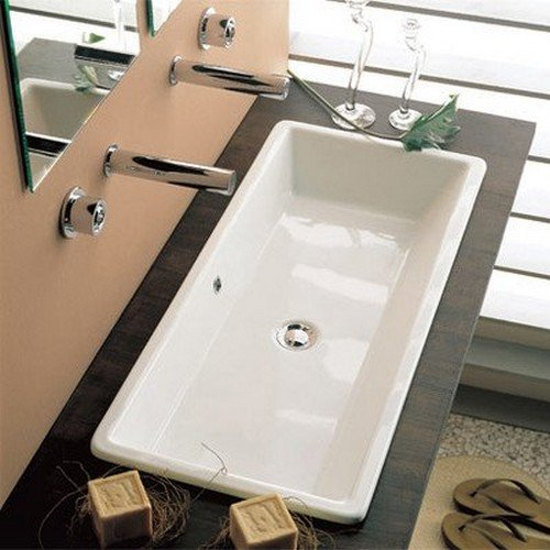 Scarabeo 8033 No Hole Gaia Rectangular Ceramic Self Rimming/Vessel Sink,  White