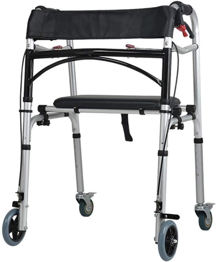LNDDP Andador Andador médico Plegable con Ruedas Asiento y Frenos Empuje Marco para Caminar para Adultos Mayores Andador con Ruedas para Interior al Aire Libre, Ajustable