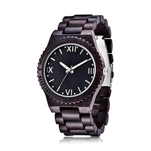 Yzx Wooden Watches With Analog Quartz Movement Handmade Black Ebony Wood Wrist Watch   Wooden Band   Luminous Pointer