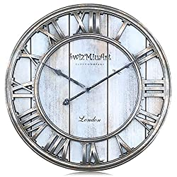 Silent Wall Clocks Battery Operated Non Ticking Quartz,Large Wooden Wall Clock Farmhouse Rustic,Big 3D Roman Numeral Metal Wall Clock  Decor Retro Living Room,Home,Office,Bedroom,Kitchen(16 inch-Gray)