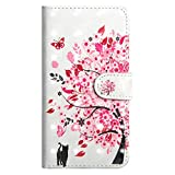 DENDICO iPhone 6 / 6S Case, Premium 3D Wallet Magnetic Case Stand Flip Cover with Wrist Strap and Card holder for Apple Galaxy A6 Plus - Pink tree