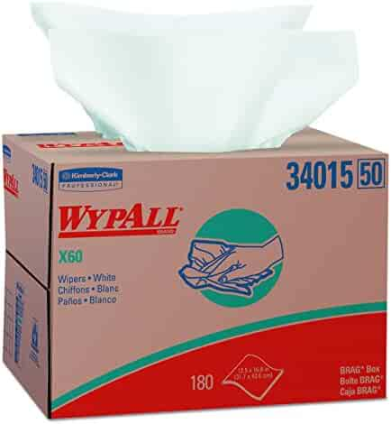 Wypall X60 Reusable Wipers (34015) in Brag Box, White, 180 Sheets